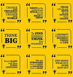 Set of motivational quotes about learning thinking vector