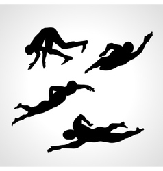 Set of silhouettes of swimmers vector