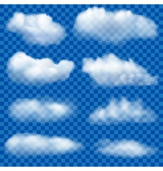 Set of transparent clouds vector image vector image