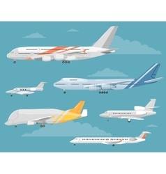 Set of variety aircraft flat style vector
