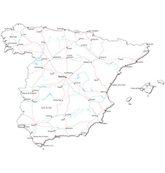 Spain Black White Map vector image