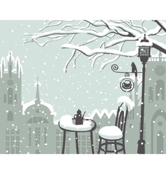 street cafe in the winter vector image