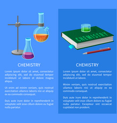 Textbook and chemistry tools isolated vector
