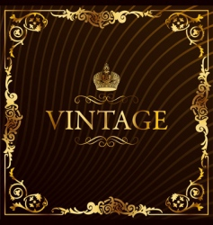 vintage gold frame decorative background vector image