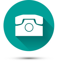 White phone icon on green background with shadow vector image vector image