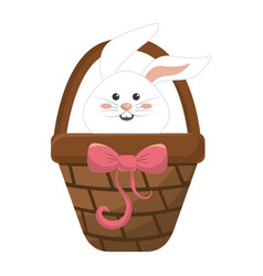 White rabbit inside brown hamper vector