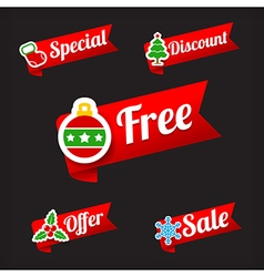 030 Collection of Christmas Sale red and green web vector image vector image