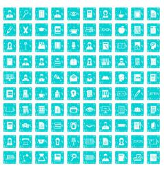 100 reader icons set grunge blue vector
