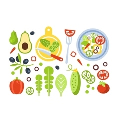 Salad preparation set of ingredients vector