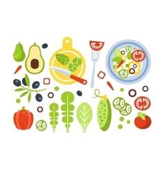 Salad Preparation Set Of Ingredients vector image