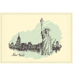 Vintage postcard with sketch of the statue of vector