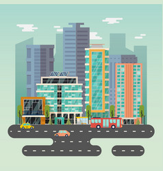 Town or city with skyscrapers buildings and road vector