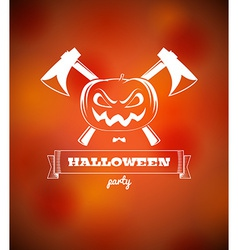 Halloween poster with pumpkin and axes vector