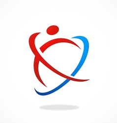 abstract people sport fitness logo vector image