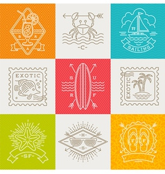 Summer vacation and travel emblems and signs vector