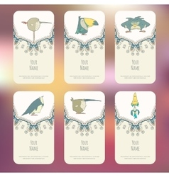 Set of business cards with hand drawn birds vector