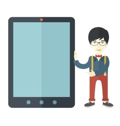Asian businessman holding a big screen tablet vector image