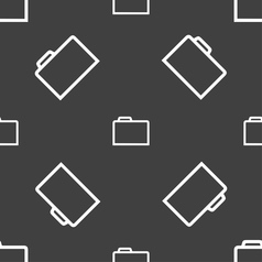 Folder icon sign seamless pattern on a gray vector