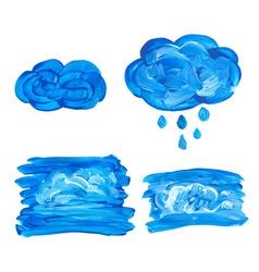 Watercolor cloud with drops vector image