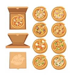 Pizza flat icons isolated on white background vector