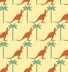 Kangaroo and palma seamless pattern australian vector