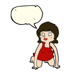 Cartoon woman on all fours with speech bubble vector