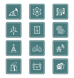 Energy icons - teal series vector