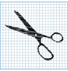 Scissors with pen effect on paper vector