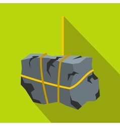 Stone with rope icon flat style vector