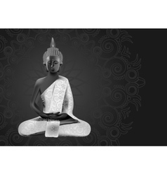 Meditating buddha posture in silver vector