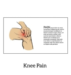 Color of knee pain hands holding leg vector