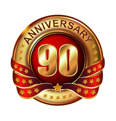 90 anniversary golden label with ribbon vector image