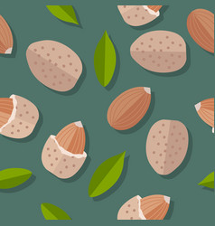 Almond nuts seamless pattern vector