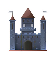 Ancient grey castle isolated in flat design vector