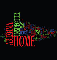 Arizona home inspector text background word cloud vector
