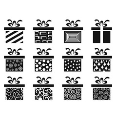 black gift box icon set vector image vector image