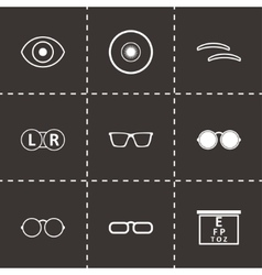 black optometry icons set vector image vector image