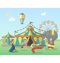 Circus performance in park poster vector