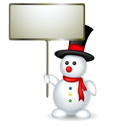 cute snowman cartoon holding blank board vector image vector image