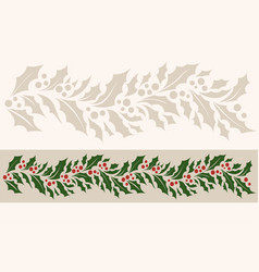 Horizontal border seamless pattern with christmas vector