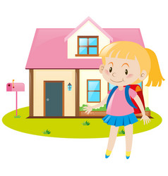 little girl and pink house vector image