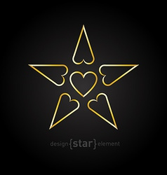 luxury golden star with hearts on black background vector image