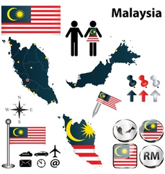 Map of Malaysia vector image vector image