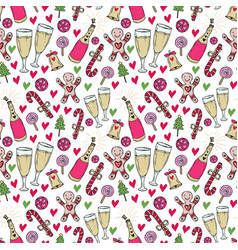 New year pattern christmas wrapping paper cute vector