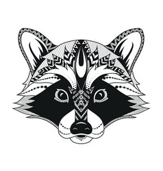 raccoon head ethnic stylized vector image
