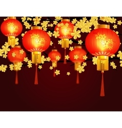 Red chinese lanterns hung in the park round shape vector