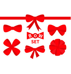 Red ribbon christmas bow big icon set decoration vector