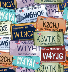 Seamless Background - Retro Auto License Plates vector image