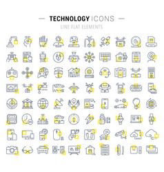 set flat line icons technology vector image
