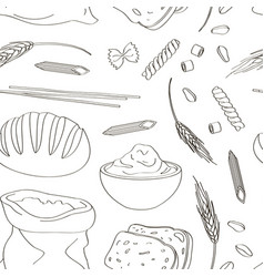 Set of food products from wheat and flour pattern vector